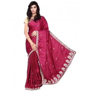 Kala Sanskruti Synthetic Maroon Bandhani Saree
