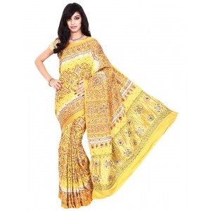 Kala Sanskruti Gajji Silk Yellow Color Bandhani Saree