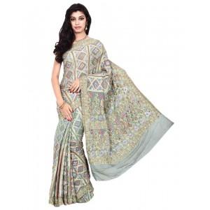 Kala Sanskruti Grey Georgette Bandhani Saree
