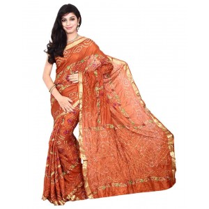 Kala Sanskruti Rust Color Pure Silk Bandhani Saree