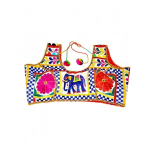 Kutch Qasab White Embroidered Sleeveless Blouse KQ02