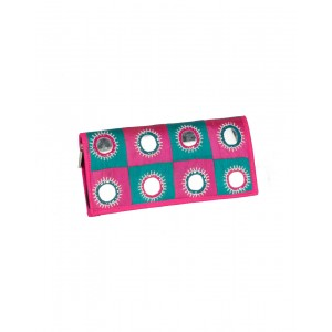 Rakhiyo Mirror Work Pink Clutch RAK39