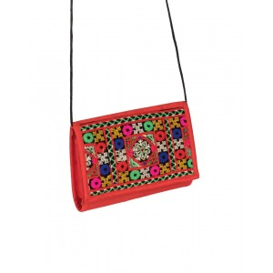 Rakhiyo Art Silk Red Sling Purse RAK45