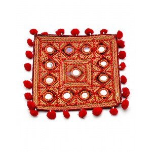 Kutch Qasab Big Mirror Embroidered Cushion Cover KQ42