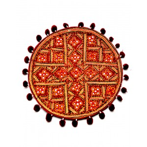 Kutch Qasab Five Mirror Round Cushion Cover KQ57