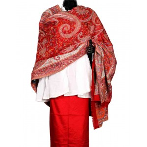 Red Himroo Shawl HS27