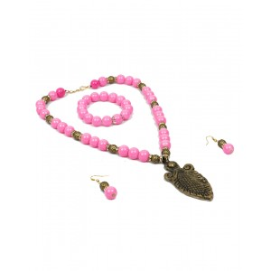 Pink Glass Beads Set AK04