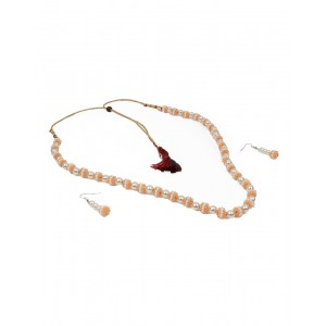 Orange And White Moti Beads Set AK35