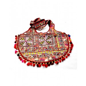 Maroon Kanjri Work Big Jola Bag