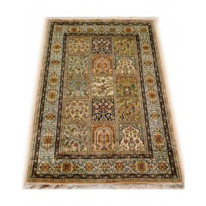 Multicolor Qum Kashmiri Carpet KCE01