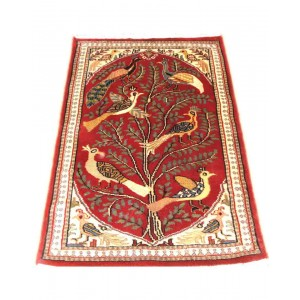 Red Tree Of Life Kashmiri Carpet KCE18