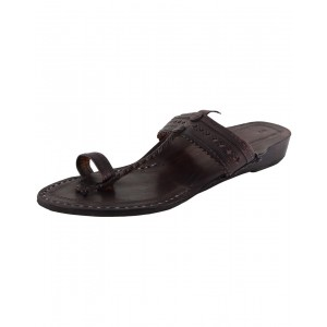 Handmade Leather Sandals - Typical Kolhapuri Chappal for Women KCF7