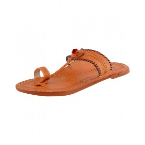 Handmade Leather Sandals - Typical Kolhapuri Chappal for Women KCF9