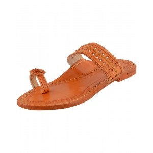 Handmade Leather Sandals - Typical Kolhapuri Chappal for Women KCF2
