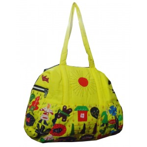 Yellow Cotton Bag with Applique Pattern