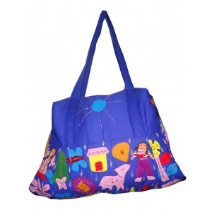 Royal Blue Cotton Bag With Applique Pattern
