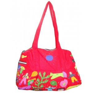 Bright Pink Cotton Bag With Applique Pattern