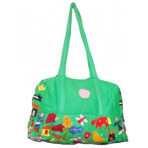 Sea Green Cotton Bag With Applique Pattern