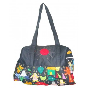 Bold Black Cotton Bag With Applique Pattern