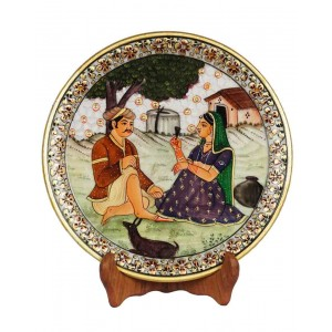 Marble Village Scene Painting Plate HH163