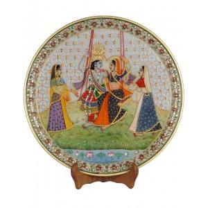 Marble Plate With Radha Krishna Painting HH182