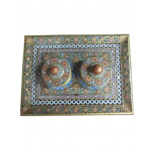 Marble 2 Dibbi Tray Set With Gold Work HH210