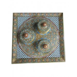 Marble 3 Dibbi Tray Set With Gold Work HH211