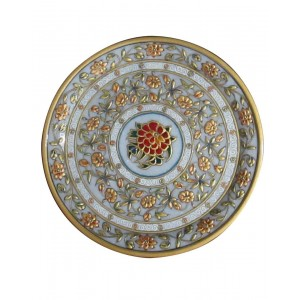 Marble Decorative Plate With Gold Work HH212