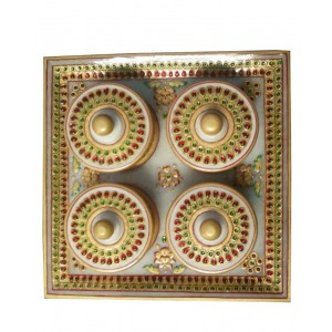 Marble 4 Dibbi Tray Set With Gold Work HH219