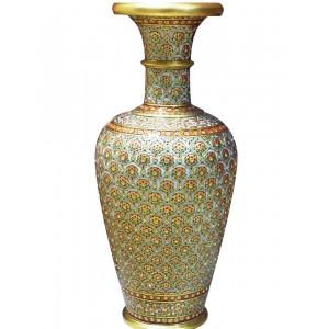 Marble Flower Pot With Gold Work HH221