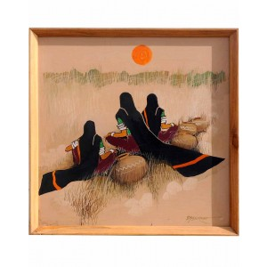 Three Ladies On Canvas Mud Work Painting
