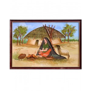 Rabari Lady Cooking Under Blue Sky Mud Work Painting