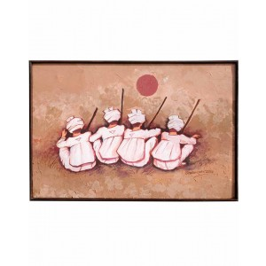 Four Rabaris On Canvas Light Background Mud Work Painting