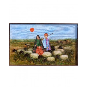 Rabari Couple With Hear Of Sheep Mud Work Painting