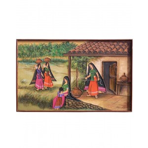 Rabari Women Household Work With A Girl Mud Work Painting