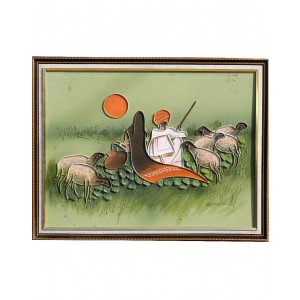 Rabari Couple With Sheeps And Pot RK62