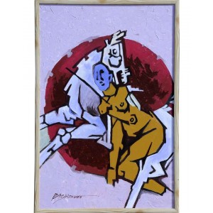 Abstract Yellow Lady And Horse RK76
