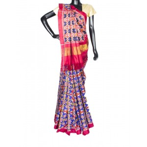 Blue And Red Chhabdi Bhat Patola Saree