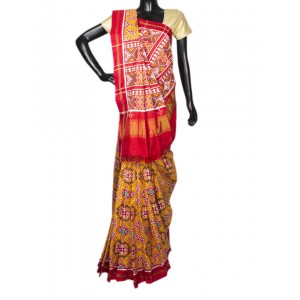 Yellow With Multi Color Navratna Patola Saree