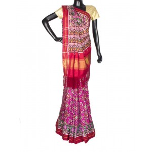 Pink With Border Multi Color Navratna Patola Saree