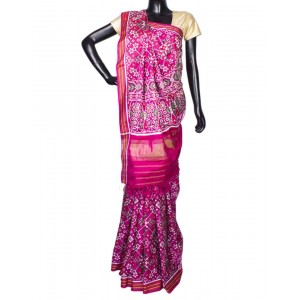 Pink Color With Multi Color Design Navratna Patola Saree