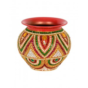 Shree Collection Copper Kalash With Stone Work SC9