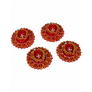 Decorative Clay Diya SC203 (Set Of 4)