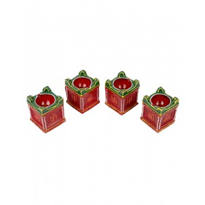 Decorative Clay Diya SC208 (Set Of 4)