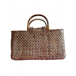 Brown Rectangle Cane Handle Water Hyacinth Bag