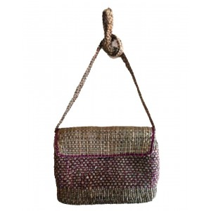 Brown Square Rope Top Cover Water Hyacinth Bag
