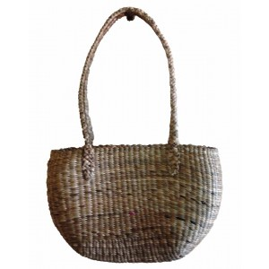 Brown Oval Normal Weave Water Hyacinth Bag