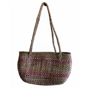 Brown Half Circle Mat Water Hyacinth Bag