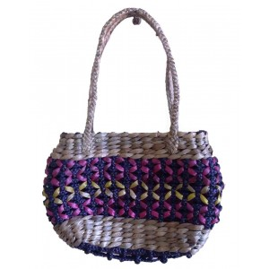 Purple Oval Small Flower Water Hyacinth Bag