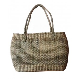 Brown Oval Rope Large Water Hyacinth Bag